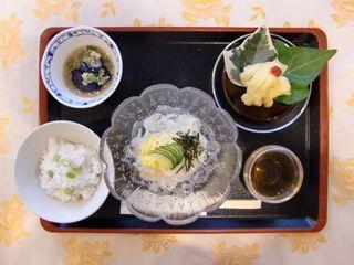 ある日の昼食 彩も鮮やかに、見た目でも「食べたい」と食欲をそそるようなお食事をご用意するよう工夫しております。