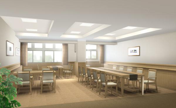 開放感のある食堂。レクリエーションも行われます。